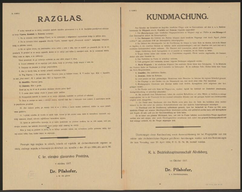 Verhalten bei Fliegeralarm - Alarmsignale - Kundmachung - Adelsberg