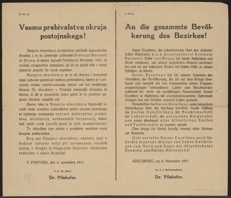 An die gesamte Bevölkerung des Bezirkes Adelsberg - Generaloberst von Bojna verlässt Adelsberg und Krain - Adelsberg