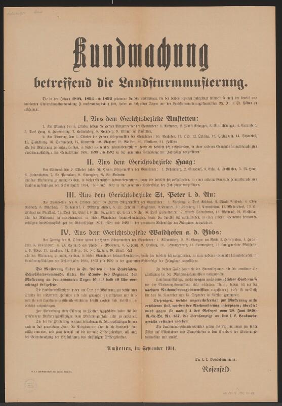 Landsturmmusterung - Kundmachung -  Amstetten von Queiser, Karl