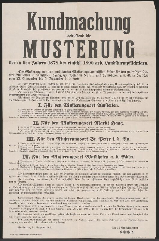 Musterung - Kundmachung - Amstetten von Queiser, Karl