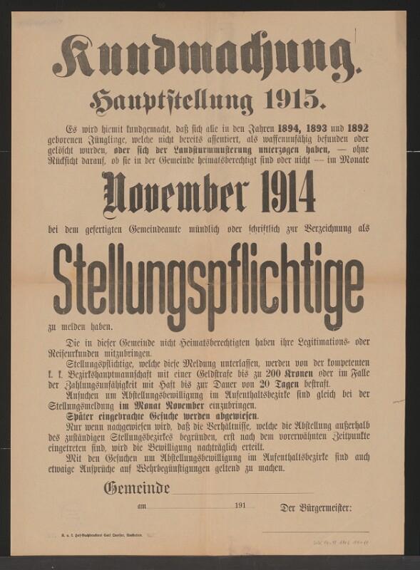 Hauptstellung 1915 - Kundmachung - Verzeichnung als Stellungspflichtige - November 1914 - Amstetten von Queiser, Karl