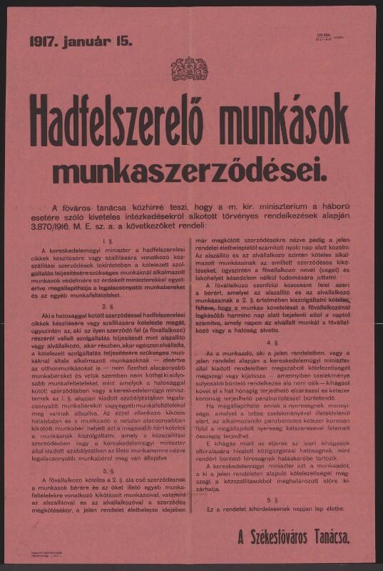 Arbeitsverträge in der Kriegsindustrie - Budapest - In ungarischer Sprache von Budapest székesföváros házinyomdája