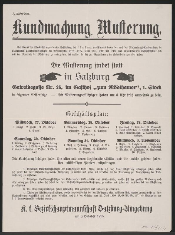 Musterung – Kundmachung – Salzburg