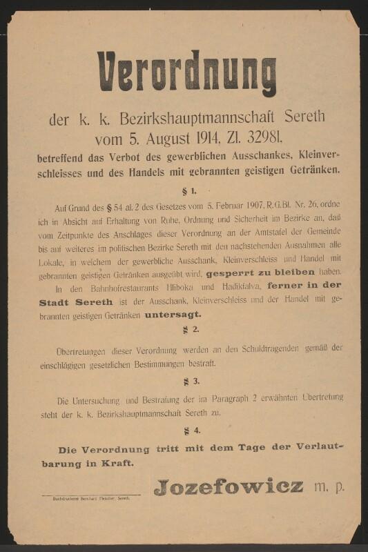 Ausschank von Getränken - Verordnung - Sereth - Europeana Collections