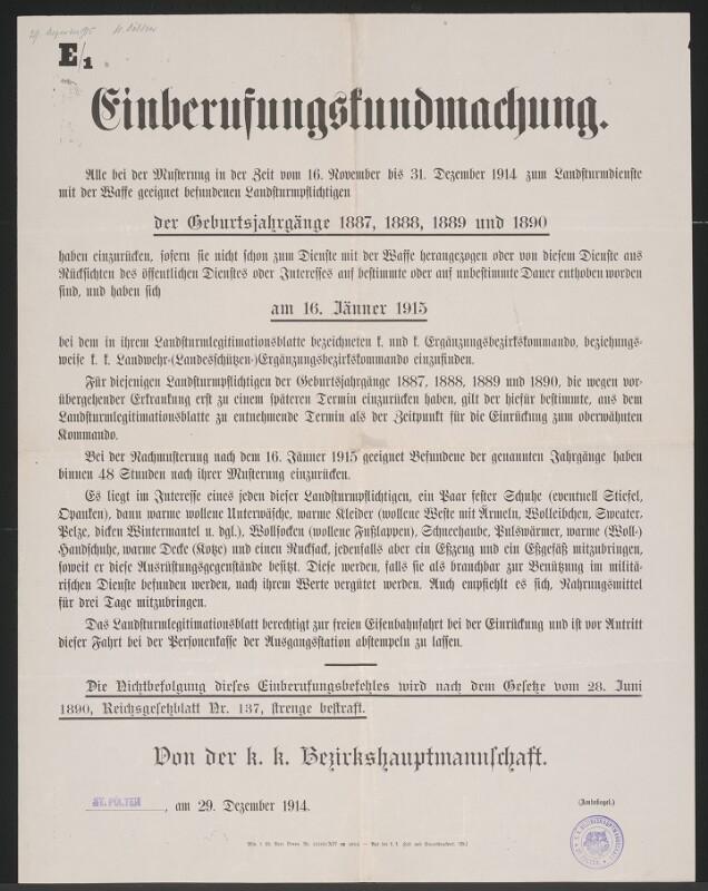 Einberufungskundmachung E/1 – St. Pölten von K. u. K. Hof- und Staatsdruckerei