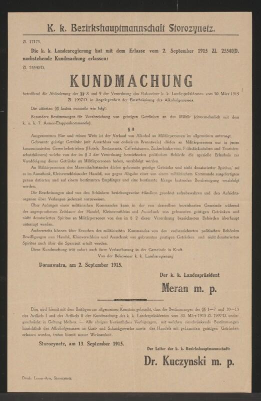 Einschränkung des Alkoholgenusses – Kundmachung – Storozynetz ...