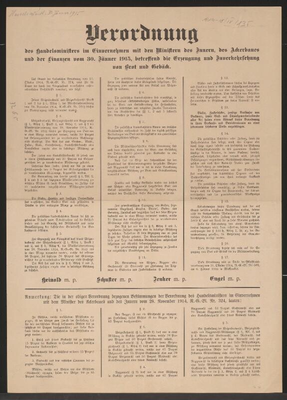 Erzeugung und Inverkehrsetzung von Brot und Gebäck - Verordnung - Wien