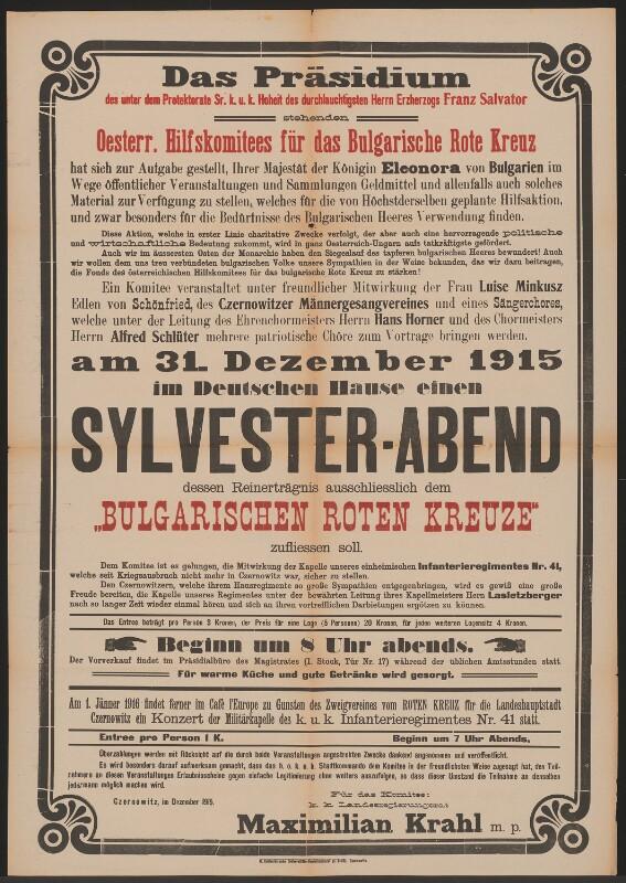 Sylvester (Silvester)-Abend im Deutschen Haus - Österreichische ...