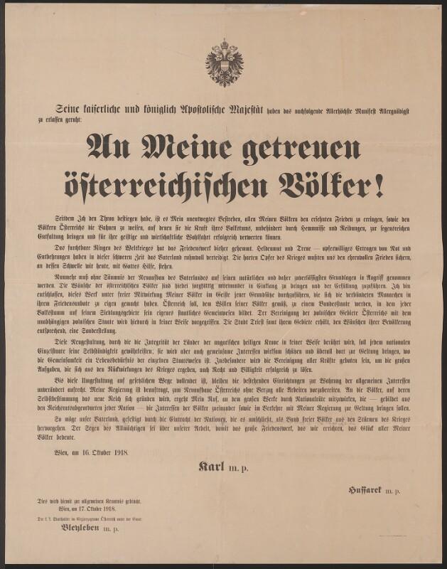 An Meine getreuen österreichischen Völker! - Schreiben Kaiser Karls vom 16. Oktober 1918 von K. u. K. Hof- und Staatsdruckerei