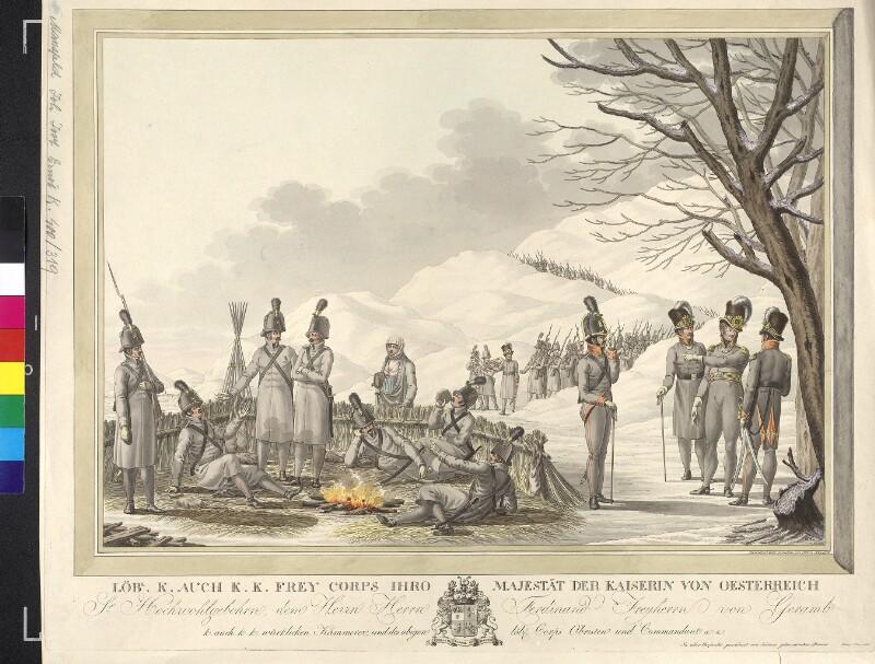 Lagerszene des Freicorps Ferdinand von Geramb von Mansfeld, Johann