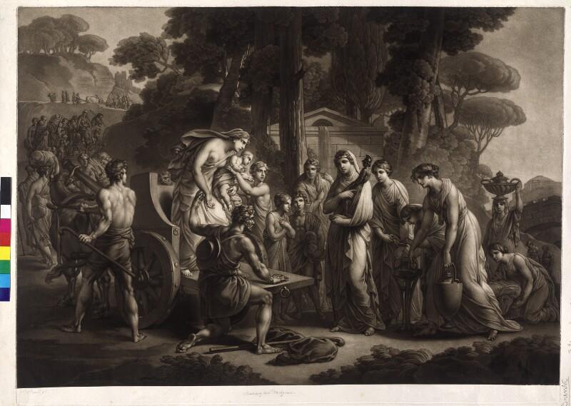 Lucius Albinus bietet den Vestalinnen seinen Wagen an  von Pichler, Johann Peter