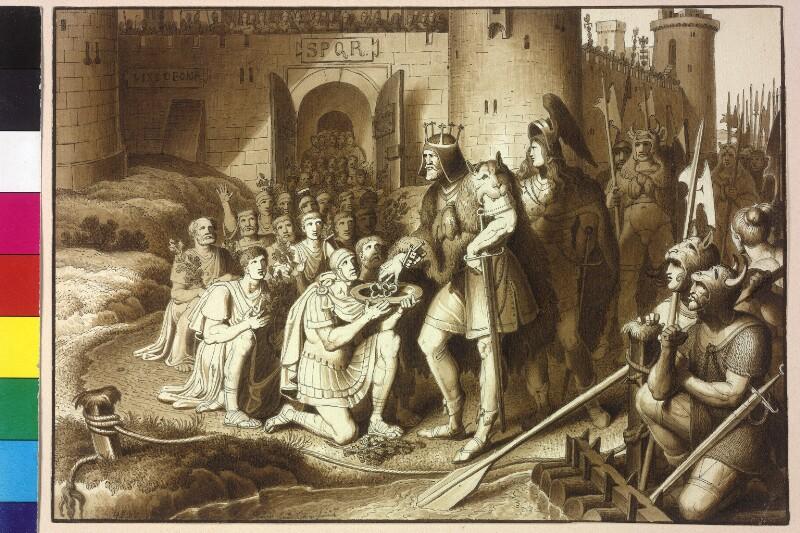 Die Bewohner von Vindobona überreichen dem Rugier-König Flaccitheus die Schlüssel zur Stadt von Ruß, Karl