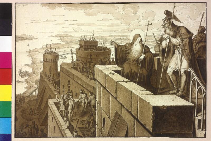 Der heilige Severin berät Flaccitheus, den König der Rugier von Ruß, Karl