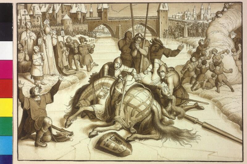 Herzog Leopold V. stürzt während eines Turniers in Graz vom Pferd, erleidet einen Beinbruch und stirbt an den Folgen des Sturzes  von Ruß, Karl