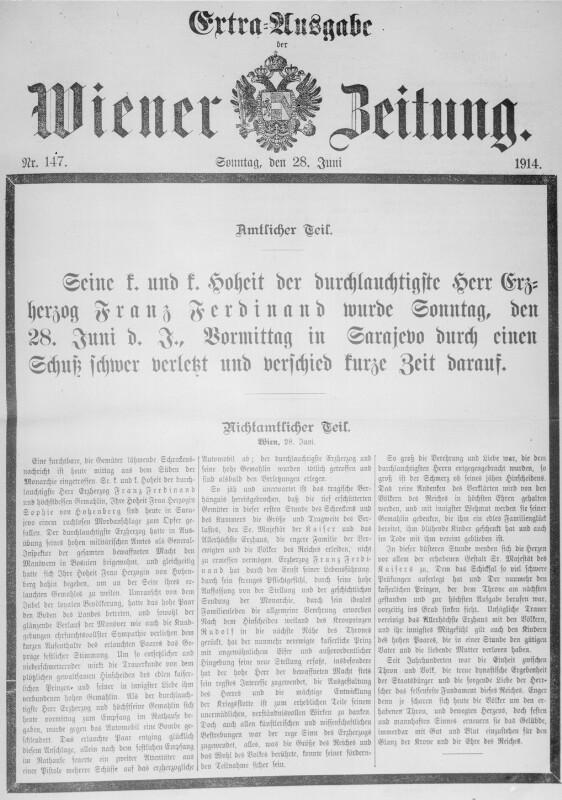 Ermordung des Thronfolgerpaares in Sarajevo