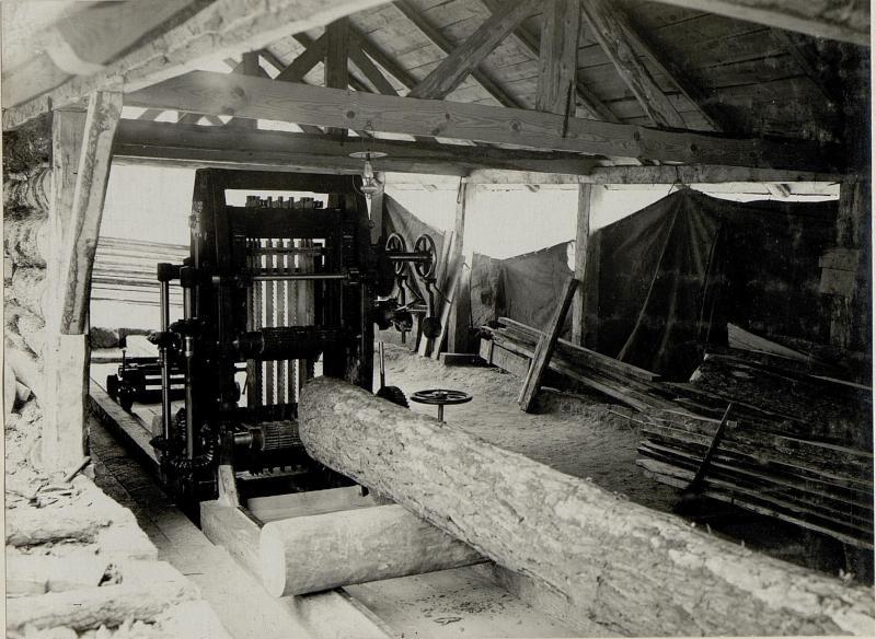 Ansicht des Gatters der Gattersäge in Worotniewo, 29. Jänner 1916 ...