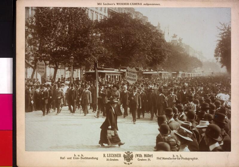 Teuerungsdemonstration in Wien von R. Lechner (Wilh. Müller), Wien