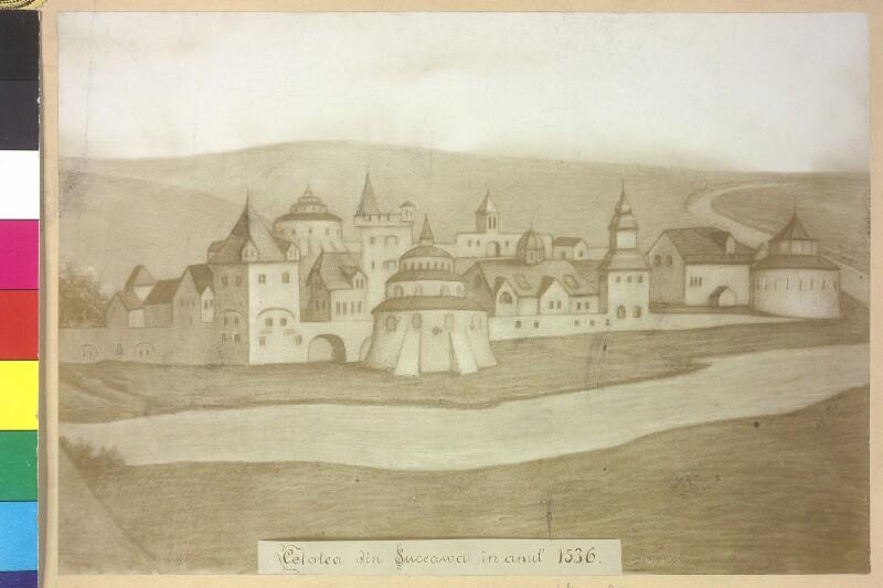 Burg von Suceawa im Jahr 1536 von Chrzanowski, J.