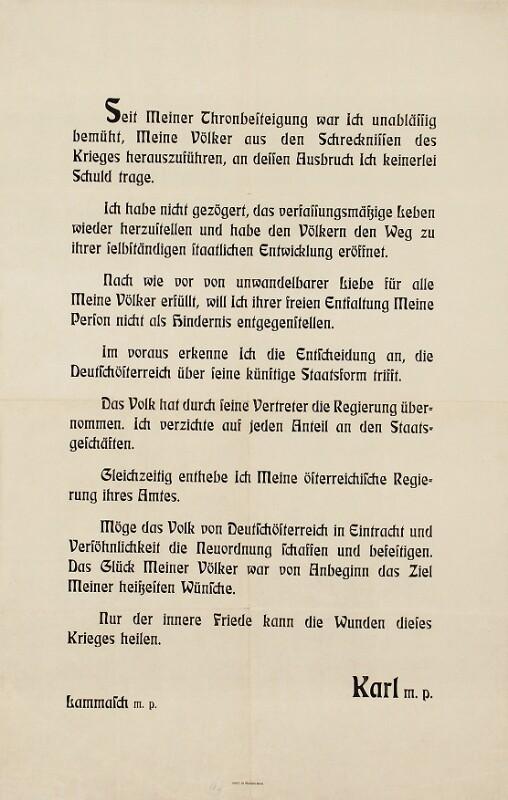 Verzichtserklärung Kaiser Karls - Bekanntmachung von Österreichische Staatsdruckerei