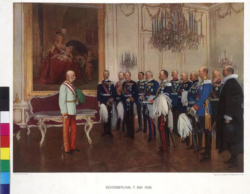 Huldigung der deutschen Bundesfürsten vor Kaiser Franz Joseph anläßlich des 60jährigen Regierungsjubiläum 1908 von Matsch, Franz von
