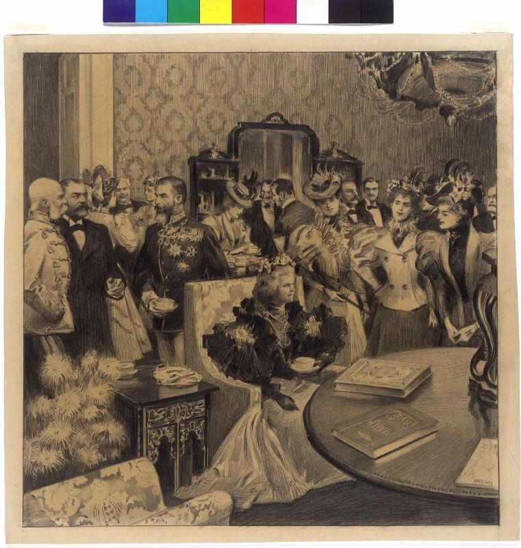 Kaiser Franz Joseph I. mit dem rumänischen Königspaar im Parkclub zu Budapest 1897 von Halmi, Arthur Lajos