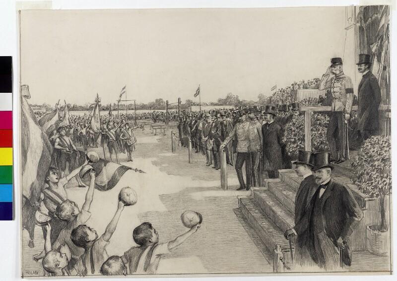 Kaiser Franz Joseph I. beim Turnfest der Schuljugend in Budapest 1896 von Halmi, Arthur Lajos