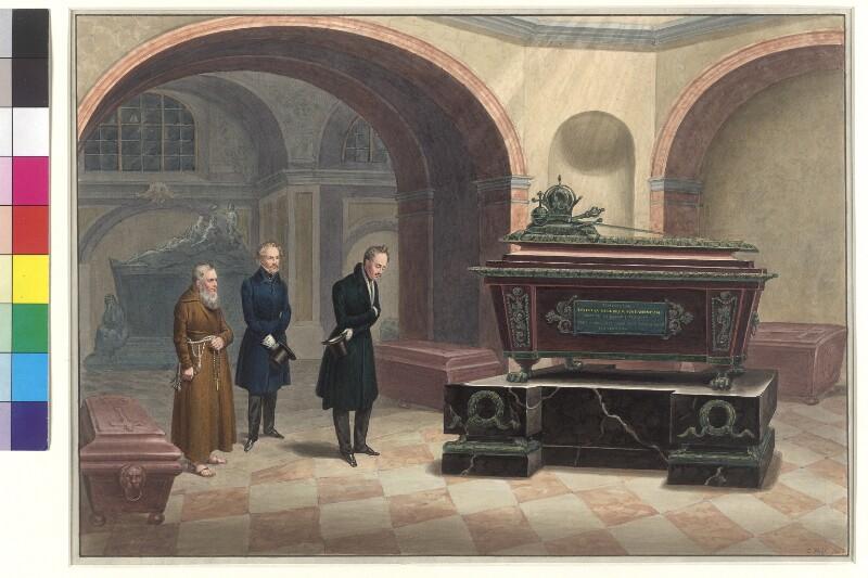 Zar Nikolaus I. am Sarg von Kaiser Franz I.  von Wolf, Franz