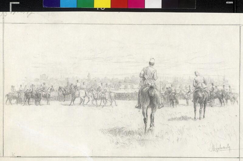 Inspizierung von Regimentern in Bruck - Schlußbesprechung von Myrbach-Rheinfeld, Felician von