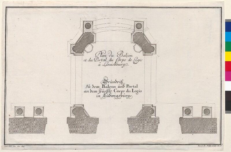 Plan du Balcon et du Portal du Corps de Logis â Louisbourg. - Grundriß zu dem Balcon und Portal an dem Füstl. Corps du Logis in Ludwigsburg von Jeremias Wolff's Erben