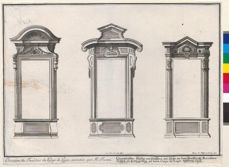 Elevation des Fenêstres du Corps de Logis, inventées par Mr. Frisoni. Geometrischer Aufzug von Fenstern, wie solche an dem Hochfüsrst. Residenz Schloss zu Ludwigsburg an deren Corps dû Logis zusehen seynd von Jeremias Wolff's Erben