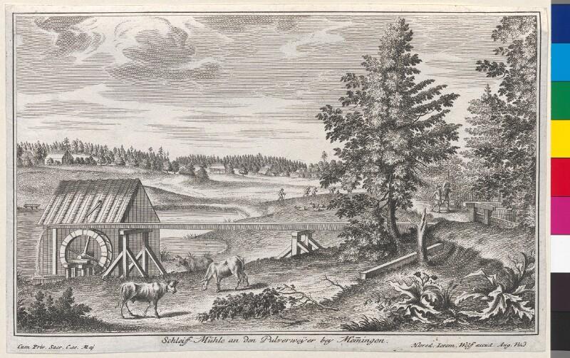 Schleiff-Mühle an den Pulverweyer bey Memmingen von Jeremias Wolff's Erben
