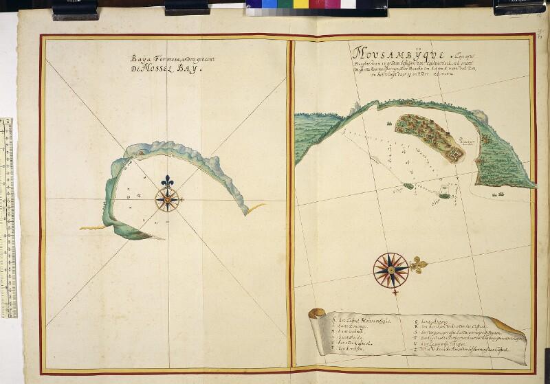 Landkarten von Mosselbay und Moçambique von Vingboons, Johannes