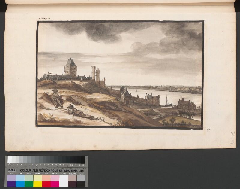 Ansicht der Burganlage Valkhof bei Nimwegen und dem Fluss Waal von Doomer, Lambert