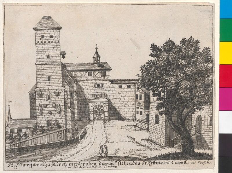 St. Margaretha Kirche mit der oben darauf stehenden St. Ottmers Capell und Einfuhr in das Keys. Schloss in Nürnberg