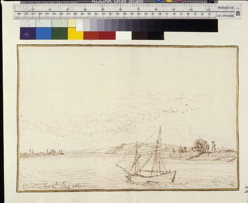 Landschaft mit dem Fluss Gironde und Hügeln bei Lormont von Hem, Hermann van der