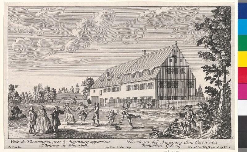 Veüe de Theuringen pres d'Augsbourg appartient à Monsieur de Schnurbein. -  Theuringen beÿ Augspurg dem Herrn von Schnurbein Gehörig von Schumann, Christian