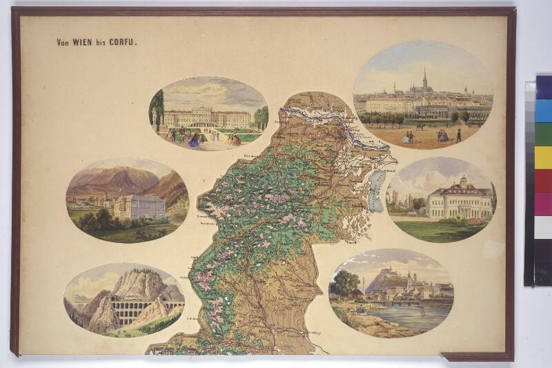 """Reliefkarte  """"Von Wien bis Corfu""""  - 1. Teil"""