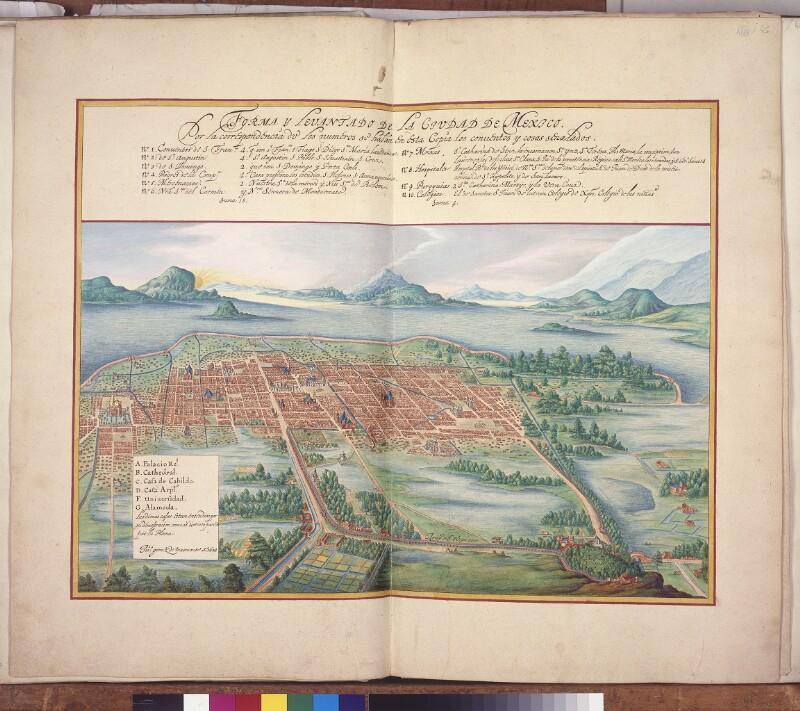 Mexico City aus der Vogelperspektive von Vingboons, Johannes