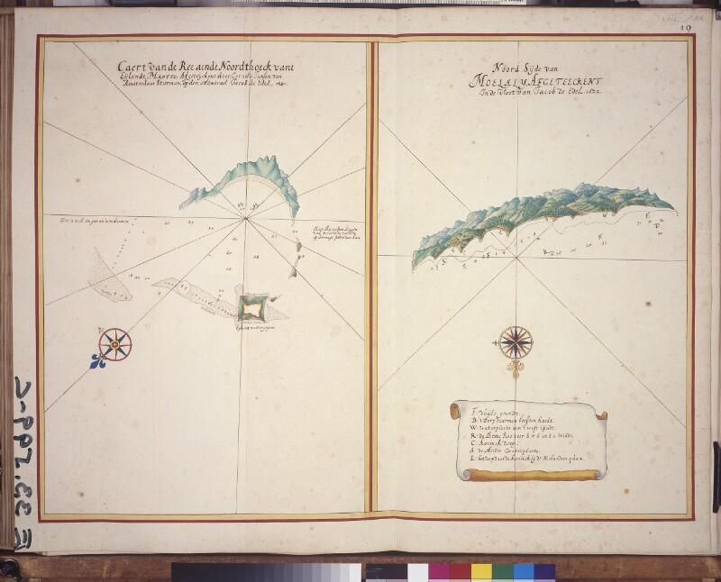 Landkarte der Reede von Mayotte und der Nordseite von Moheli von Vingboons, Johannes