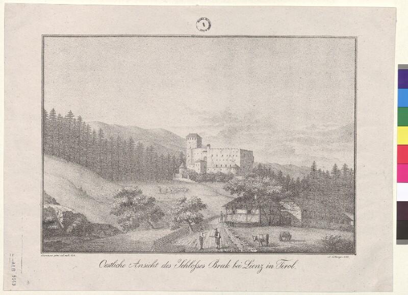 Oestliche Ansicht des Schlosses Bruk bei Lienz in Tirol von Ehrenhaus, ...