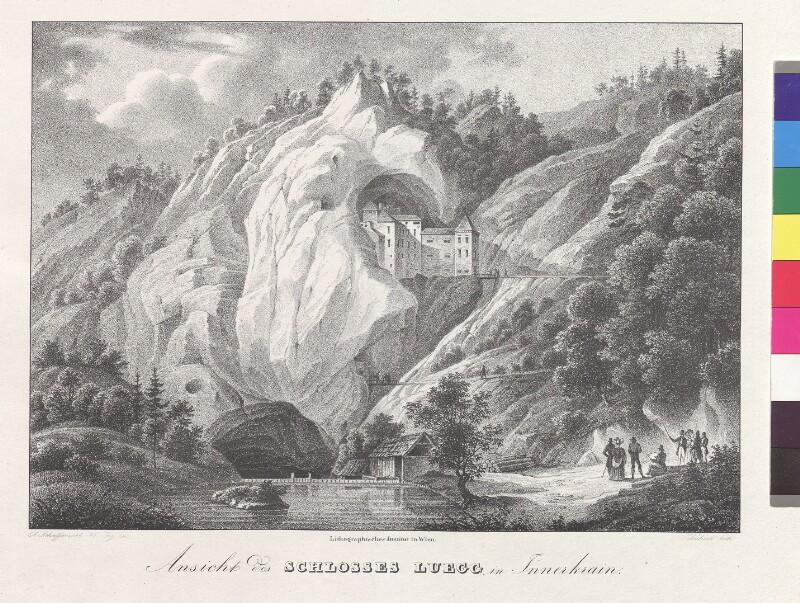 Ansicht des Schlosses Luegg, in Innerkrain von Schubert, Karl