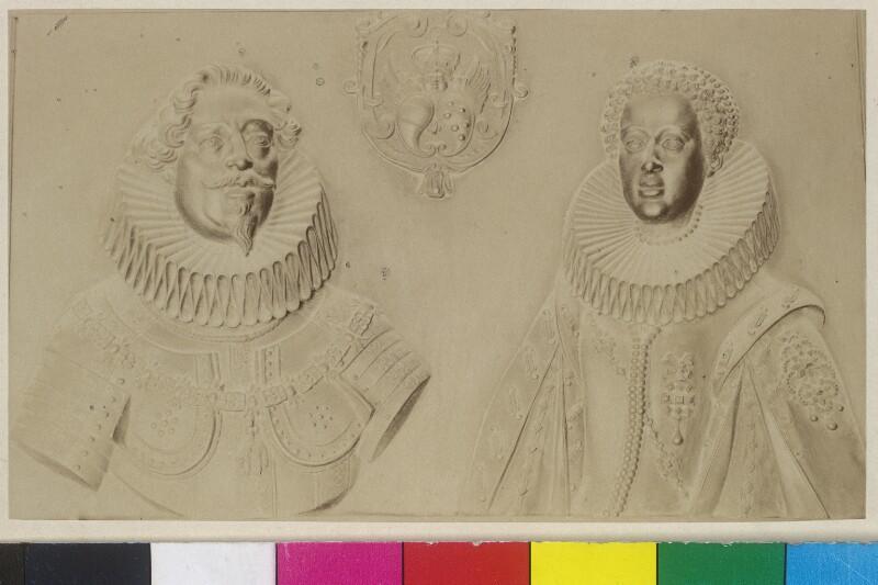 Erzherzog Leopold V. und seine Gemahlin Erzherzogin Claudia - Bronzerelief