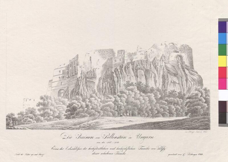 Die Ruinen von Peillenstein in Ungarn von der Süd-Seite. Eines der Erbschlösser der hochfürstlichen und hochgräflichen Familie von Pàlffy von Pockmeyer, C.