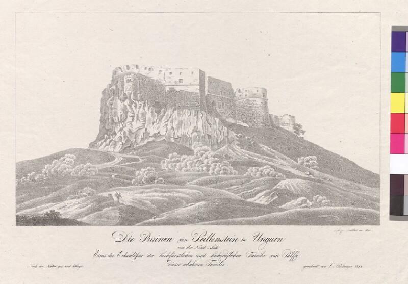 Die Ruinen von Peillenstein in Ungarn von der Nord-Seite. Eines der Erbschlösser der hochfürstlichen und hochgräflichen Familie von Pálffy von Pockmeyer, C.