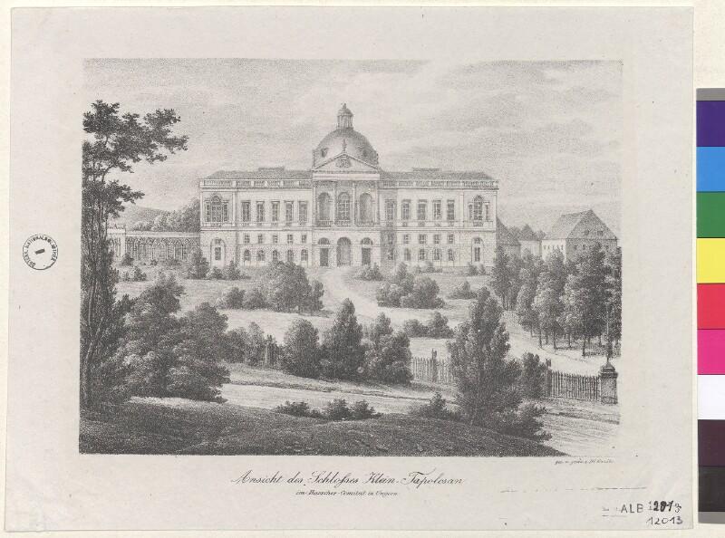 Ansicht des Schlosses Klein-Tapolcsan im Barscher-Comitat in Ungern von Kunike, Adolf