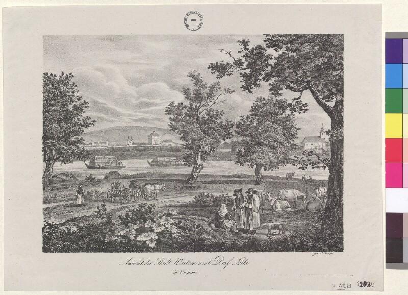 Ansicht der Stadt Waitzen und Dorf Telki in Ungarn von Kunike, Adolf