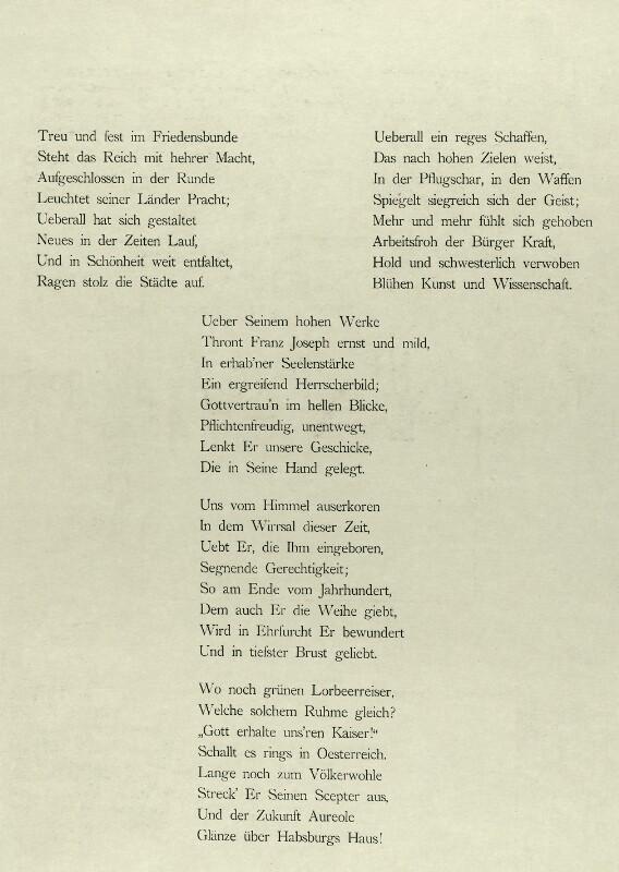 Viribus Unitis. Das Buch vom Kaiser - Hymnenblatt (2. Seite) von Saar, Ferdinand von