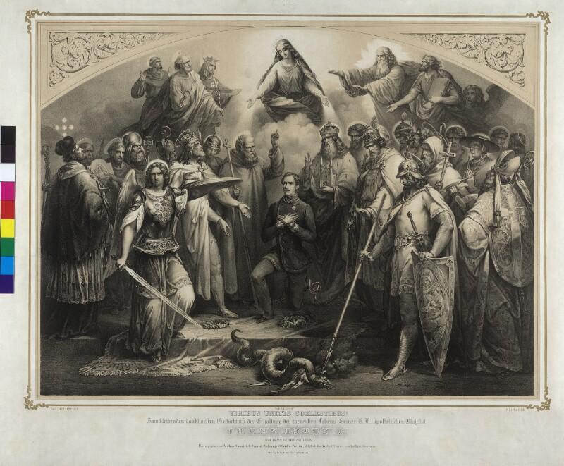 Gedenkblatt zur Erinnerung an die Errettung Kaiser Franz Joseph I. 1853 - Viribus Unitis Coelestibus von Leybold, Friedrich