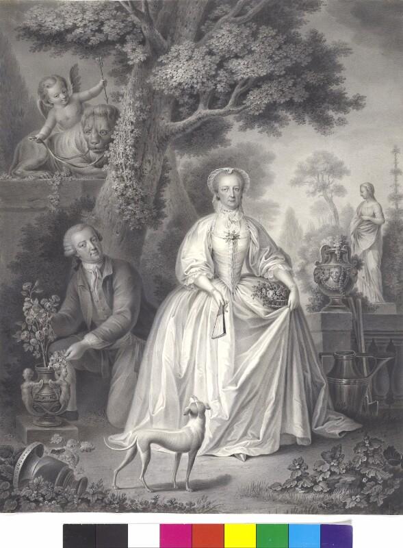 Kaiserin Maria Theresia mit Gemahl Kaiser Franz I. im Garten von Schönbrunn