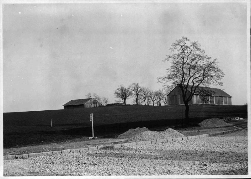 Bau des Senders Bisamberg, Blick auf den Bisamberg, im Vordergrund eine neu angelegte Straße, Schotterhaufen, im Hintergrund zwei Gebäude und Bäume von ORF